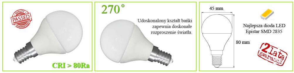 mała kulka LED, żarówka ładna, sajna mocna E14 biała ciepła 3000K 50W 60W