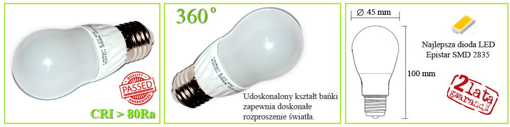 Żarówka LED Ledigo 4W biała zimna, ładna, duży gwint, najlepsza