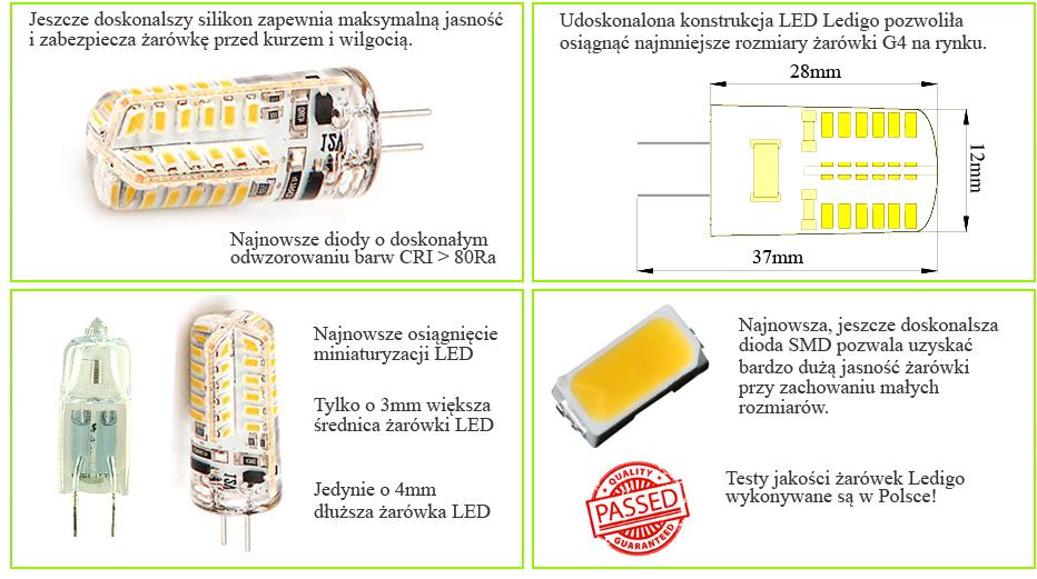 Żarówka LED G4 48SMD3014 w osłonie silikonowej, 12V, Warszawa, najlepsza, mini, mała, Epistar, SMD3014