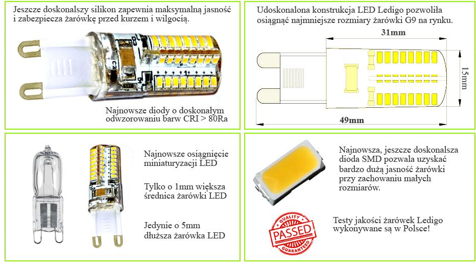 Żarówka LED G9 64SMD3014 jak 35W 40W, silikon, biała ciepła