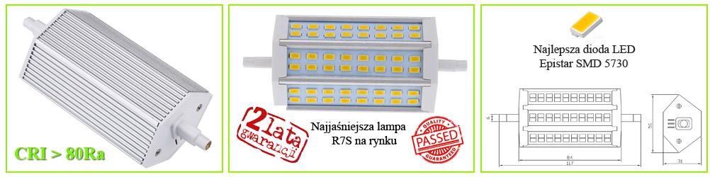 Lampa, żarnik LED R7S 118mm Ledigo 12W biały ciepły
