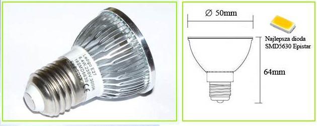Żarówka LED E27 16 SMD 5630 5730 ciepła