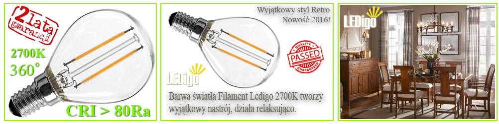 Żarówka LED kulka Filament Vintage Retro 2W jak 20W, 25W 6000K, ładna, strylowa, najlepsza