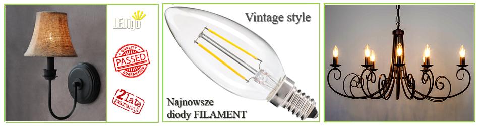 Żarówka LED Ledigo Filament Vintage Retro 2W jak 20W, 25W, 2700K, 3000K, Jasna, Ładna, Ciepła