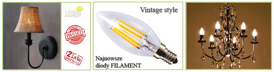 Żarówka LED świeczka Filament Vintage Retro 4W jak 40W, 50W 2700K, 300K, jasna, ładna, strylowa, najlepsza