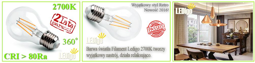 Żarówka LED Ledigo 4W biała ciepła FILAMENT retro vintage styl, 2700K