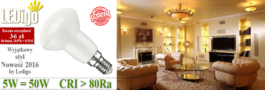 Żarówka Ledigo R39 LED E14 mały gwint, jasna, mocna 5W jak 50W, 60W, sklep, najlepsza, ładna, 3000K
