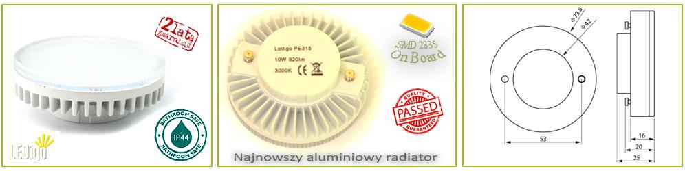 lampa, żarówka LED GX53 10W, najlepsza, mocna, jasna, najmocniejsza jak 100W, 80W, 75W, Warszawa