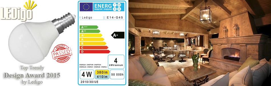 Żarówka LED E14 Ledigo 4W biała ciepła jak 40W, Warszawa, sklep, najlepsza, ładna, jasna
