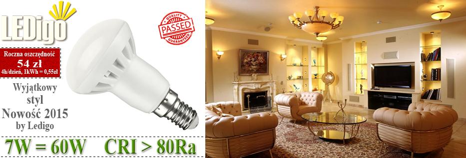 Żarówka Ledigo R50 LED E14 mały gwint, jasna, mocna 7W jak 50W, 60W, sklep, najlepsza, ładna, 3000K
