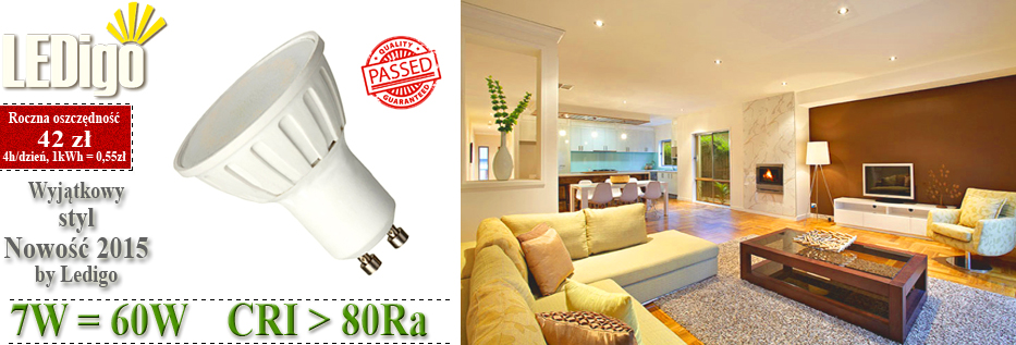 Żarówka LED Ledigo GU10 7W jak 60W 50W biała ciepła, jasna, mocna, najlepsza, warszawa, sklep, niska cena, super jakość