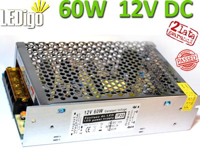 Zasilacz 60W do LED 12V DC - prąd stały, profesjonalny, Ledigo, najlepszy